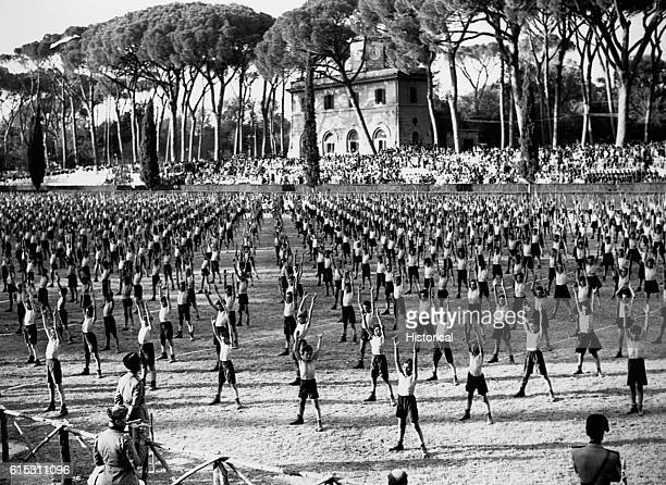 The Fascist Youth movement performs group exercises Italy ca 1936