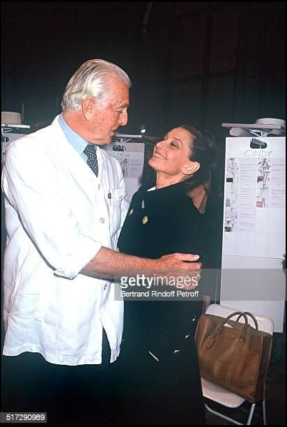 The fashion designer Hubert De Givenchy and Audrey Hepburn Backstage Haute Couture fashion show spring summer 1992 collection in Paris