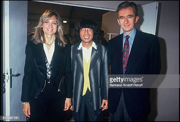 The fashion designer Kenzo Takada Bernard Arnault and his wife Helene Kenzo ready to wear fashion show spring summer 1994 collection in Paris