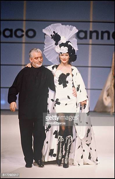 The fashion designer Paco Rabanne and Carla Bruni Defile Paco Rabanne Haute Couture fashion show spring summer 1994 in Paris
