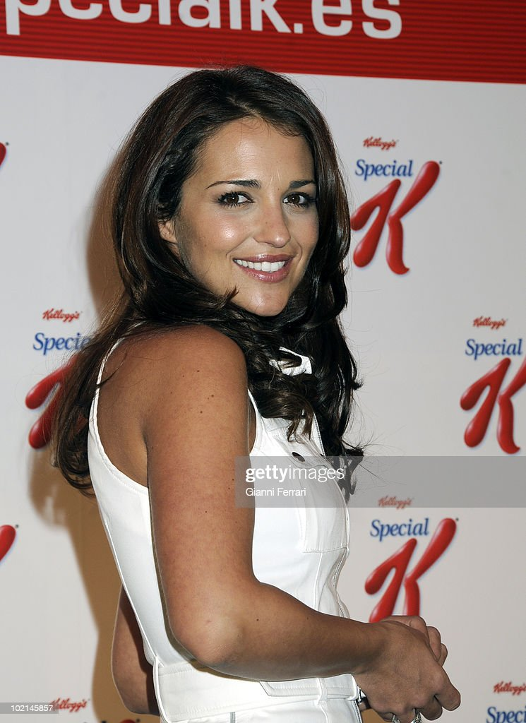 The fashion model Paola Echevarria, wife of singer David Bustamante, advertising some products to keep slin, 5th may 2008, Shoko, Madrid, Spain.