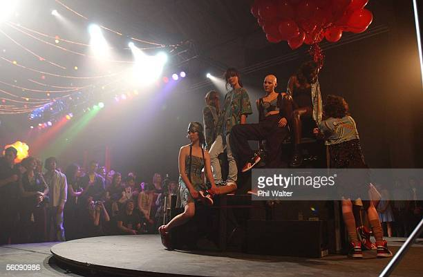 The fashion show for Karen Walker featuring models rotating on a stage inside the York Street recording studios in Parnell during the final day of...
