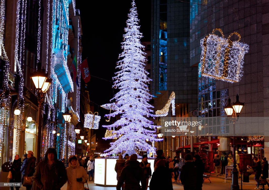 The 'Fashion street' with Christmas decorations is seen at Deák Ferenc utca (Ferenc Deák street) on December 19, 2017 in Budapest, Hungary.