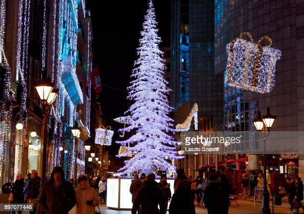 The 'Fashion street' with Christmas decorations is seen at Deák Ferenc utca on December 19 2017 in Budapest Hungary