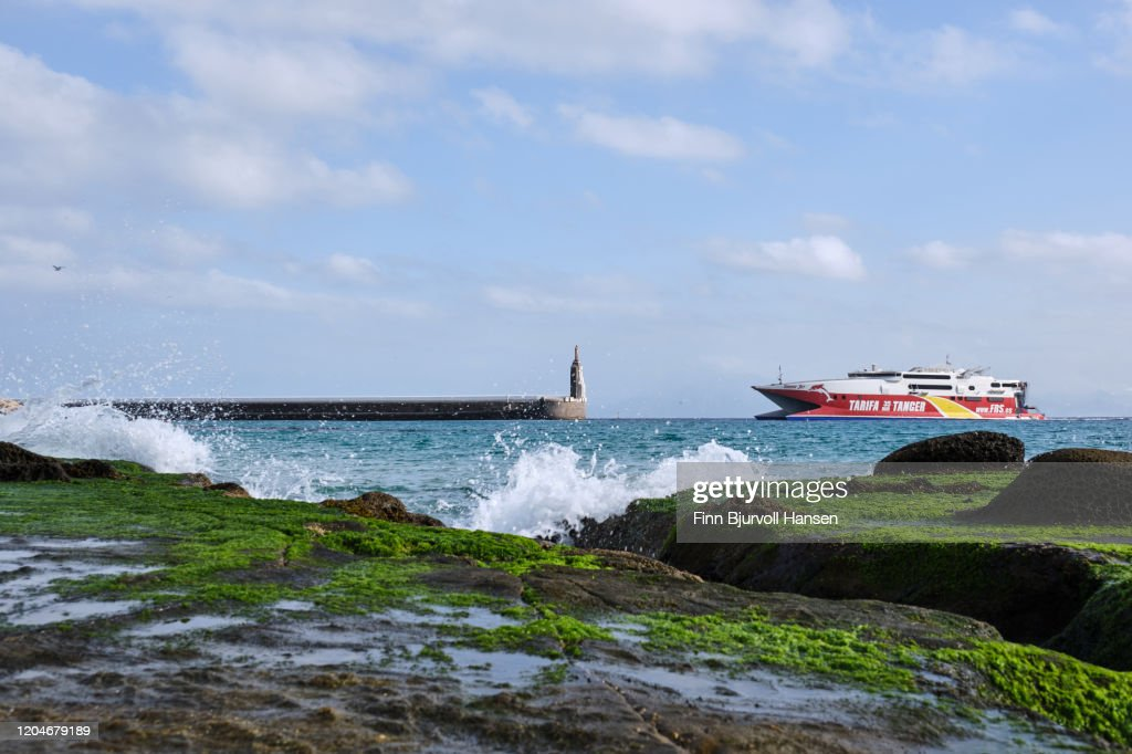 The fast ferry ship between Tarifa and Tanger Morocco : Stock Photo