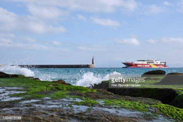 the fast ferry ship between tarifa and tanger morocco - finn bjurvoll stock pictures, royalty-free photos & images