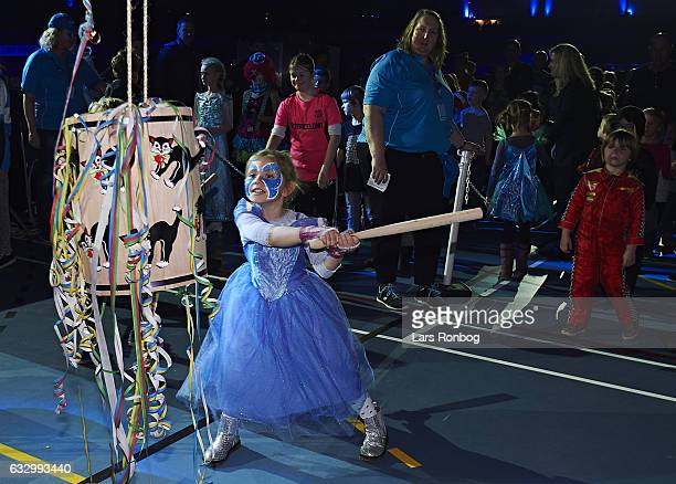 The fastelavn tradition for kids during day four at the Copenhagen Six Days race at Ballerup Super Arena on January 29 2017 in Ballerup Denmark