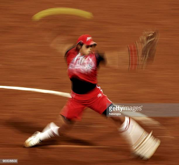 The fastest pitcher in the world Japan's Yukiko Ueno winds up during Japan's 43 win at Game 6 Australia v Japan at the Women's Preliminaries during...