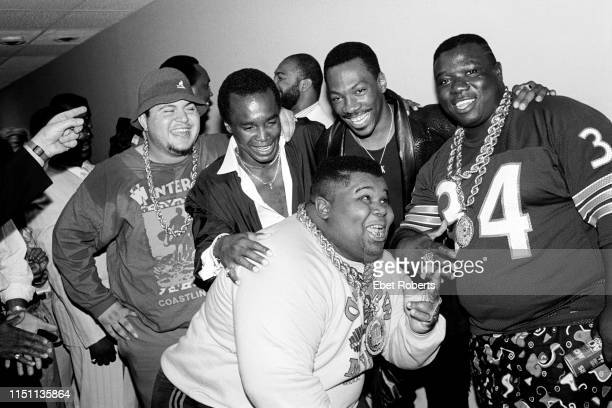 The Fat Boys with Sugar Ray Leonard and Eddie Murphy at the premiere for the Fat Boys 'Disorderlies' movie in New York City on August 13, 1987.