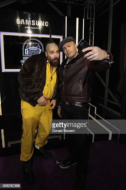 The Fat Jew and actor Billy Zane show their support for the Derek Zoolander Foundation with a Samsung Galaxy S6 edge selfie at the premiere of...