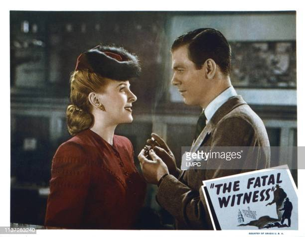 The Fatal Witness lobbycard from left Evelyn Ankers Richard Fraser 1945