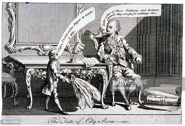 'The fate of City Remces' 1770 King George III seated at a table at his foot lie various papers inscribed Humble petition and remonstrance On the...
