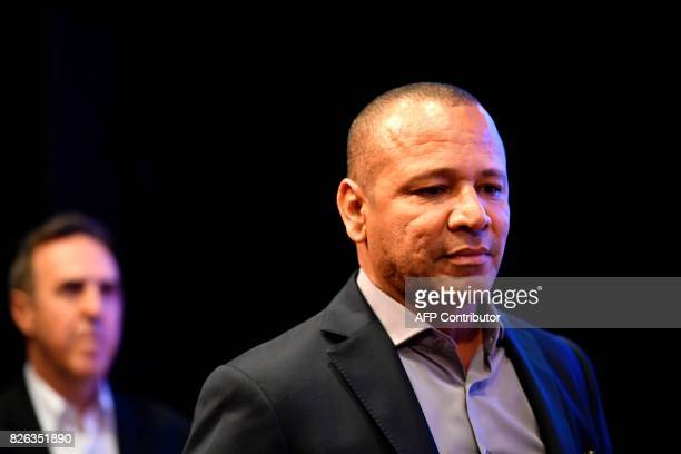 The father of Brazilian superstar Neymar Neymar Santos and his agent Wagner Ribeiro attend a press conference at the Parc des Princes stadium on...
