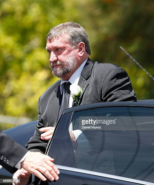 The father of Phillip Hughes Greg arrives for his son's Funeral Service on December 3 2014 in Macksville Australia Australian cricketer Phillip...