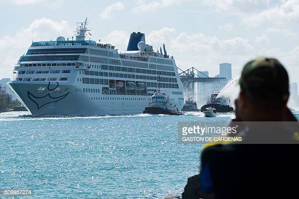 The Fathom cruise ship Adonia departs Miami Beach Florida with fanfare and water cannons on her inaugural sevenday voyage to Cuba on May 1 2016 The...