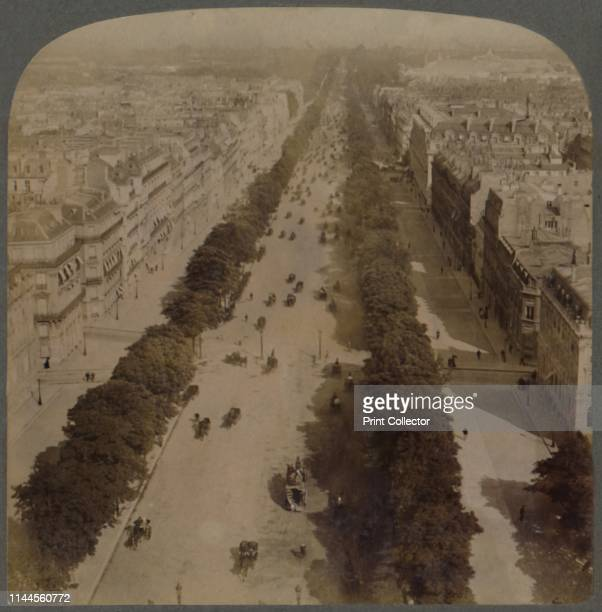 The favourite drive Champs Elysees from Arch of Triumph to Place de la Concorde Paris France' 1900 Stereocard by Underwood Underwood Artist Underwood...