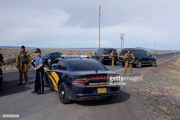 The FBI and Oregon State Police temporarily close a stretch of road near the Malheur Wildlife Refuge Headquarters near Burns Oregon on February 11...