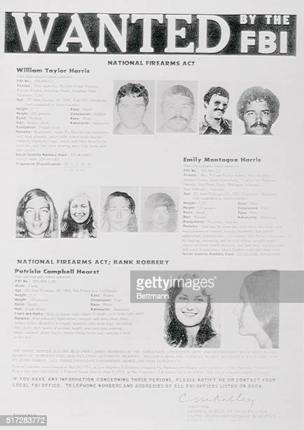 The FBI began distributing wanted posters of newspaper heiress Patricia Hearst and William and Emily Harris naming them as very dangerous fugitives...