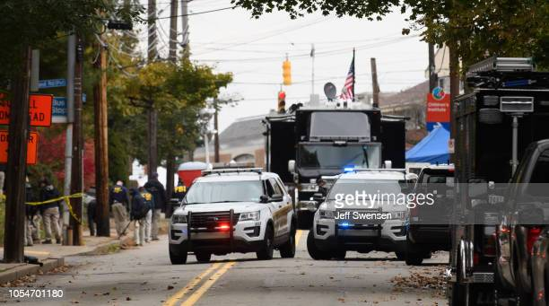 The FBI command center at the site of the mass shooting that killed 11 people and wounded 6 at the Tree Of Life Synagogue on October 28 2018 in...