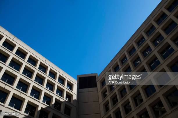 The FBI headquarters is seen during an installation ceremony for FBI Director Christopher Wray in Washington DC September 28 2017 The US Senate...