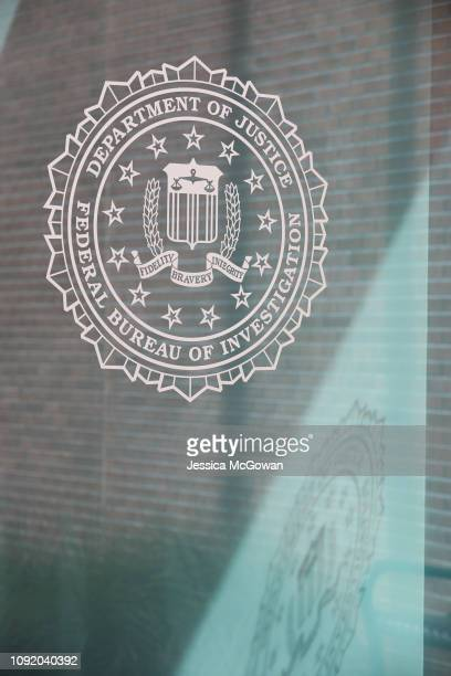 The FBI logo outside the Atlanta field office on February 1 2019 in Atlanta Georgia Federal state and local law enforcement and other agencies work...