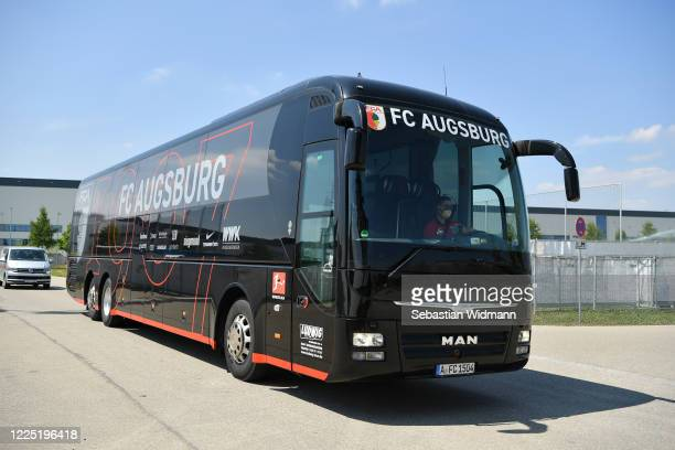 The FC Augsberg team bus arrives outside the WWK-Arena ahead of the Bundesliga match between FC Augsberg and VFL Wolfsburg takes place on May 16,...