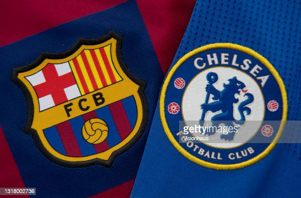 The FC Barcelona and Chelsea club badges on their first team home shirts ahead of the UEFA Women's Champions League Final on May 14, 2020 in...