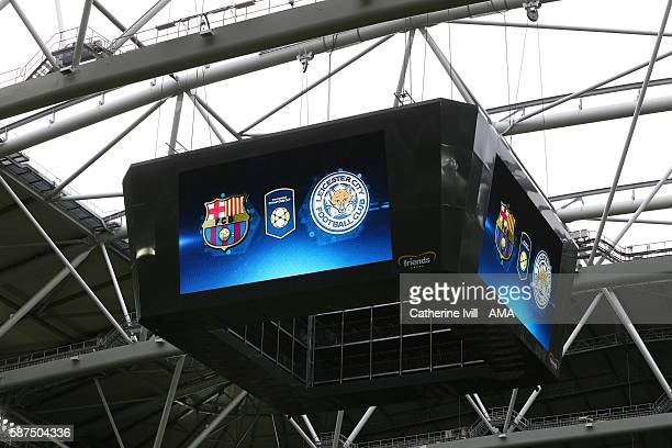 The FC Barcelona and Leicester City club badges displayed on the screen during the International Champions Cup 2016 match between Barcelona and...