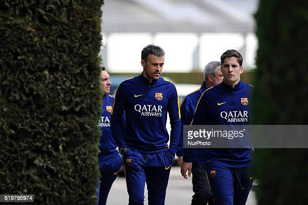 The FC Barcelona coach Luis Enrique going with his staff to attend his press conference before Real Sociedad vs FC Barcelona Spanish league match in...