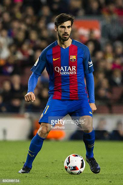 The FC Barcelona player Andre Gomes from Portugal during the Spanish Copa del Rey round of 32 second leg match between FC Barcelona vs Hercules CF at...