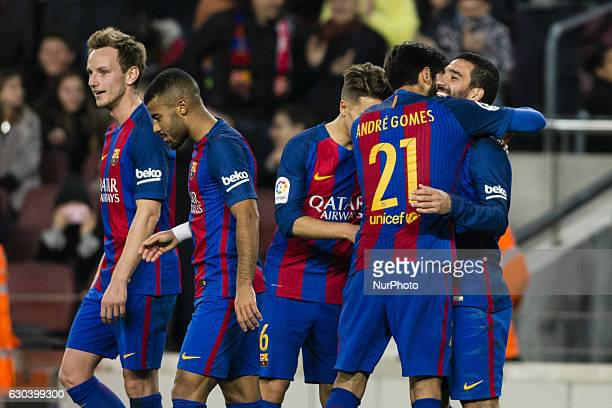 The FC Barcelona player Arda Turan from Turkey celebrating his hat trick during the Spanish Copa del Rey round of 32 second leg match between FC...