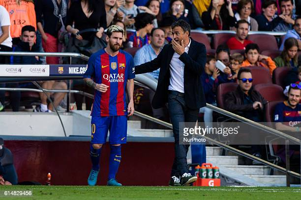The FC Barcelona player Lionel Messi from Argentina and the FC Barcelona coach Luis Enrique from Spain during the La Liga match between FC Barcelona...