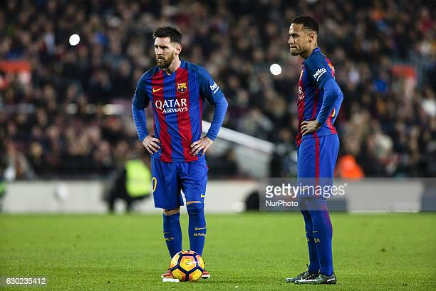 The FC Barcelona player Lionel Messi from Argentina and The FC Barcelona player Neymar da Silva from Brasil during the Barcelona derby match of La...