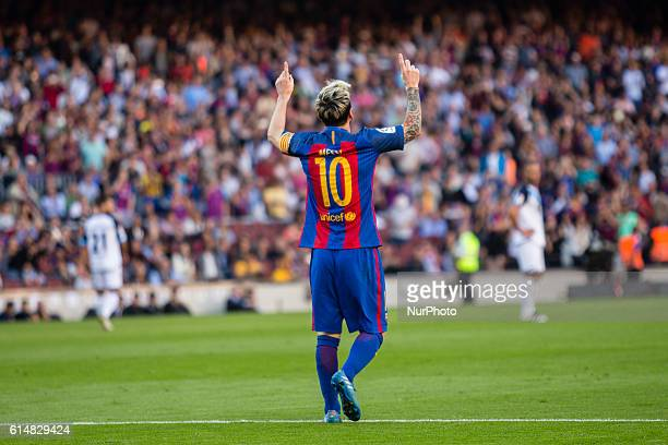 The FC Barcelona player Lionel Messi from Argentina celebrating his first goal of the match during the La Liga match between FC Barcelona and...