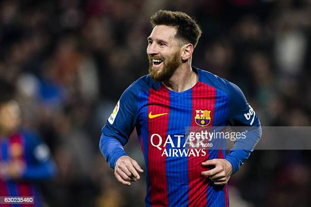 The FC Barcelona player Lionel Messi from Argentina celebrating his goal during the Barcelona derby match of La Liga between FC Barcelona vs RCD...