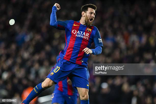 The FC Barcelona player Lionel Messi from Argentina celebrating his free kick goal during the Spanish Copa del Rey round of 8 second leg match...