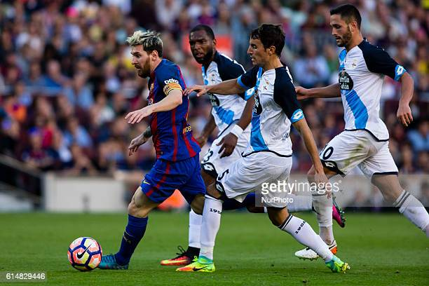 The FC Barcelona player Lionel Messi from Argentina during the La Liga match between FC Barcelona and Deportivo at the Camp Nou stadium on October 15...