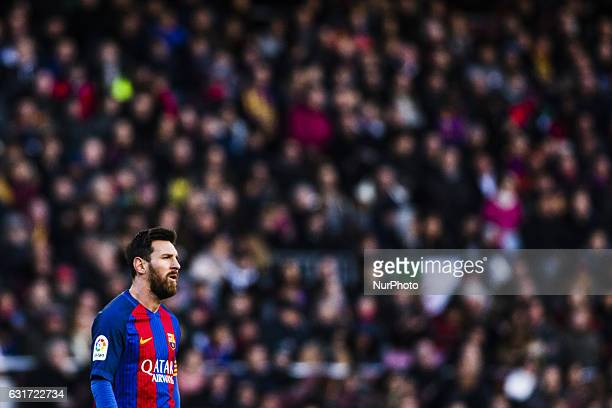 The FC Barcelona player Lionel Messi from Argentina during the La Liga match between FC Barcelona vs UD Las Palmas at the Camp Nou stadium on January...