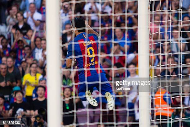 The FC Barcelona player Luis Suarez from Uruguay scores the third goal of the match during the La Liga match between FC Barcelona and Deportivo at...