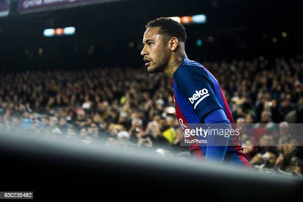 The FC Barcelona player Neymar da Silva from Brasil during the Barcelona derby match of La Liga between FC Barcelona vs RCD Espanyol at the Camp Nou...
