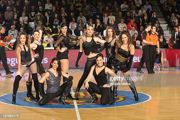 The FC Barcelona Regal cheerleaders during Turkish Airlines Euroleague TOP 16 Game Day 1 between FC Barcelona Regal and Bennet Cantu at Palau...
