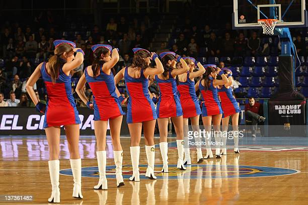 The FC Barcelona Regal cheerleaders in action during Turkish Airlines Euroleague TOP 16 Game Day 1 between FC Barcelona Regal and Bennet Cantu at...