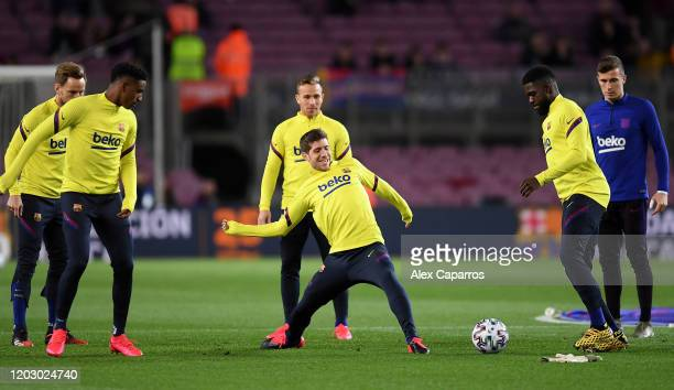 The FC Barcelona reserve players warn up ahead of the Copa del Rey Round of 16 match between FC Barcelona and CD Leganes at Camp Nou on January 30...