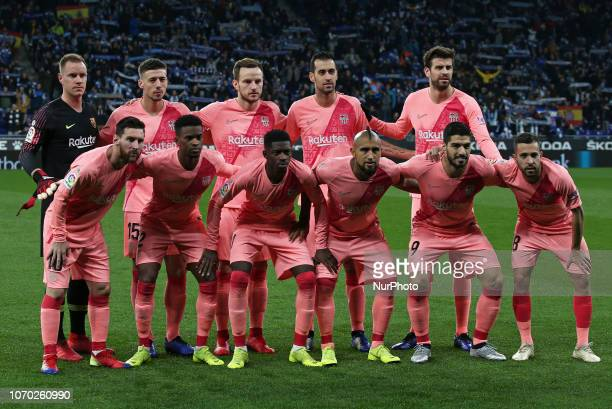 the FC Barcelona team during the match between RCD Espanyol and FC Barcelona corresponding to the week 15 of the spanish league played at the RCD...
