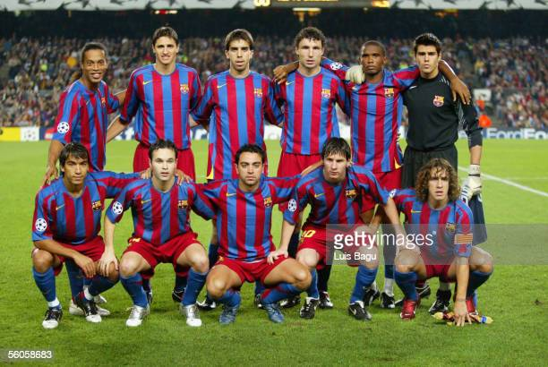 The FC Barcelona team photocall before the UEFA Champions League group C match between FC Barcelona and Panathinaikos at the Camp Nou stadium on...