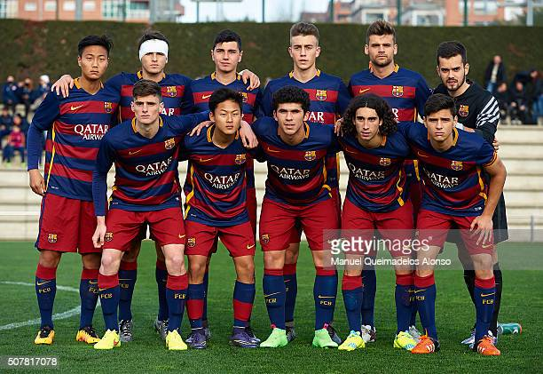 The FC Barcelona U18 team line up ahead of the match between FC Barcelona U18 and Real Zaragoza U18 at Ciutat Esportiva Joan Gamper on January 31...