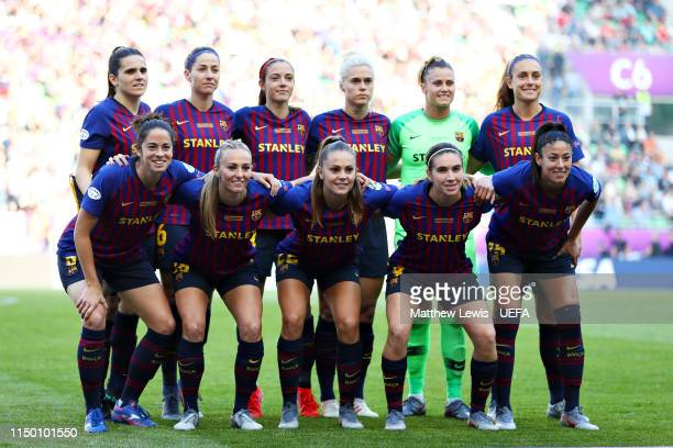 The FC Barcelona Women's team line up before the UEFA Women's Champions League Final between Olympique Lyonnais Women and FC Barcelona Women at...