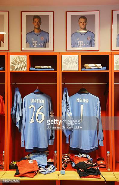 The FC Bayern dressing room seen prior to the UEFA Champions League Quarter Final first leg match between FC Bayern Muenchen and SL Benfica at...
