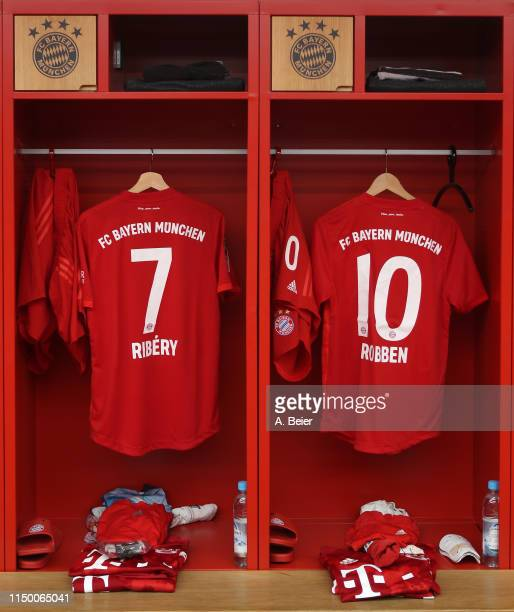 The FC Bayern Muenchen jerseys of Arjen Robben and Franck Ribery are pictured in the team's changing room before the Bundesliga match between FC...