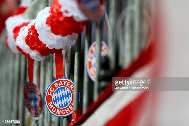 The FC Bayern Muenchen logo is seen during the UEFA Champions League Group F match between FC Bayern Muenchen and Olympiacos FC at Allianz Arena on...